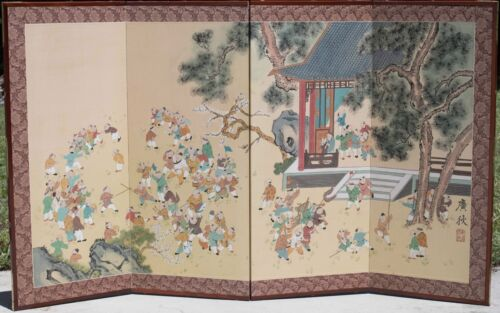 Outstanding Chinese 4 Screen Panel Painting, Artist Signed w/ 99 Figures! FINE!