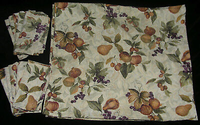 Tablecloth 106X60 10 Napkins 20X20 Autumn Fruit Fall Leaves Green Gold on Beige