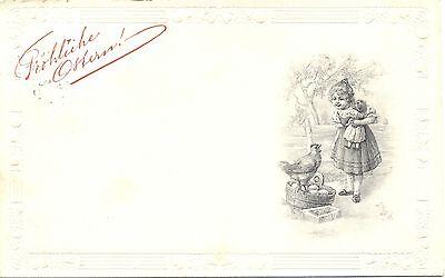 Ostern, Mädchen mit Puppe, Huhn, Eier, 1912 ()
