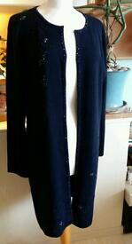 Longline beaded cardigan jacket navy size 18