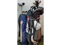 Golf clubs & wheeled bag