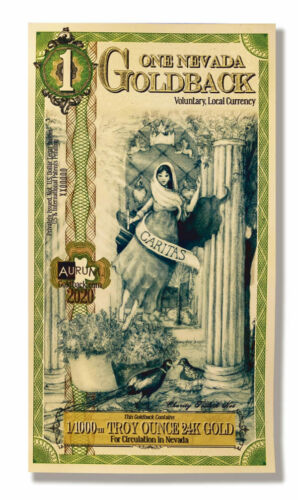 1 Nevada Goldback Aurum Gold Foil Note 1/1000 oz 24KT