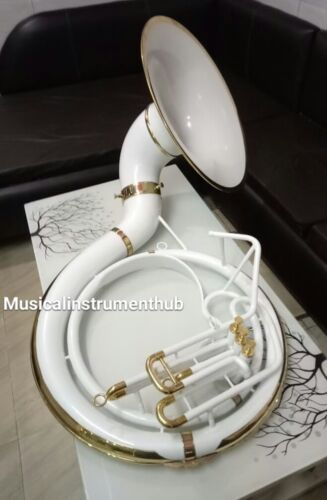 "SOUSAPHONE IN WHITE 25""BELL OF PURE BRASS METAL + CASE BOX +FREE SHIPPING"