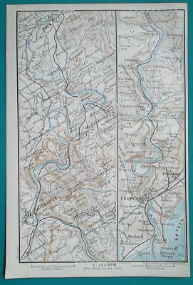 1897 BAEDEKER MAP - WALES Wye River Ross > Chepstow + Gloucester Cathedral Plan
