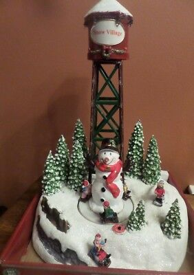 Brand New Animated Musical LED Christmas Water Tower Decoration Snow Village