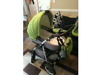 Green travel pram buggy and car seat