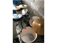 Tornado acoustic drum kit, stool and sticks