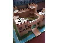 Wooden Castle with Knights and Weapons