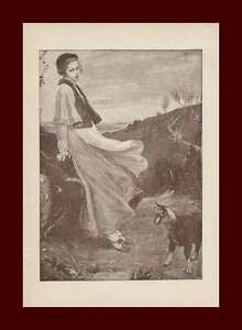 Woman-with-Baby-Goat-Antique-Engraving-Original-1890