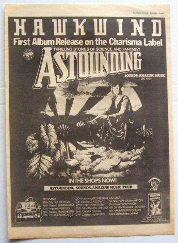 HAWKWIND 1976 vintage POSTER ADVERT AMAZING SOUNDS Charisma Records SPACE ROCK