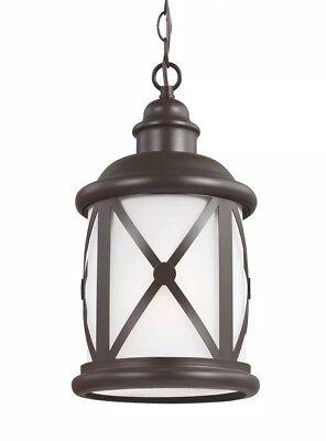 Sea Gull Lighting Outdoor Pendant Light Antique Bronze Adjustable Height Fixture Adjustable Height Light Fixture