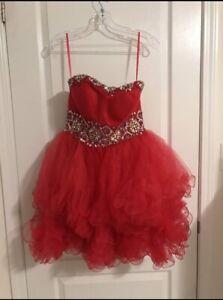 Fuchsia Short Puffy Strapless Prom/Grad Dress