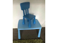 Blue Ikea Mammut table chair boy Kids Child toddler bedroom Family Parent Excellent Condition