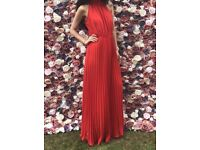 Red long maxi ASOS Boohoo halter pleated dress