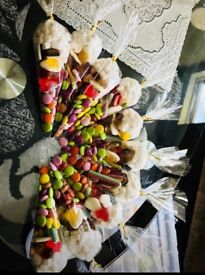 Sweet cones with smarties chocolate beans