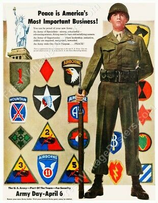 1949 US Army 1st Cavalry 10th Mountain 11th 82nd 101st Airborne new poster 24x31