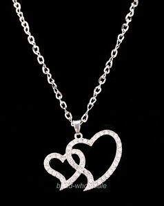 1pc Most Popular Costume Jewelry Crystal Love Heart Pendant Necklace For Women