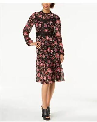 Nine West Black Lace-Trim Floral Chiffon Midi Dress -Multiple Szs  MSRP $99 {&} (Black Lace Chiffon Dress)