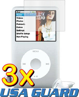 - 3x Clear LCD Screen Protector Guard Cover Film for Apple iPod Classic 80/120/160