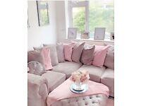 Grey chesterfield corner sofa & poof
