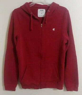 ETNIES Full Zip Up Maroon Hooded Sweatshirt Casual Hoodie Men's Size Small (Etnies Mens Sweatshirt)