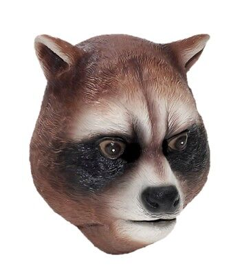 Raccoon Latex Mask Animal Halloween Adult Costume Rocket Accessory Parties New](Raccoon Halloween Costume)