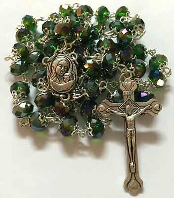 Green Crystal Beads Rosary Catholic Necklace Holy Soil Medal with Crucifix