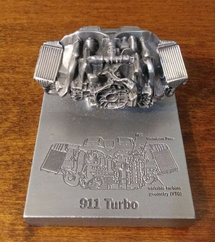 Miniature Pewter Porsche 911 Turbo Engine Motor Replica Model Figure Paperweight
