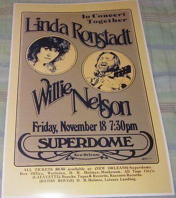 LINDA RONSTADT/WILLIE NELSON 1977 SUPERDOME REPLICA CONCERT POSTER