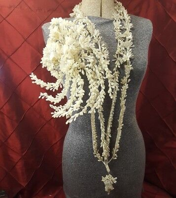 Exquisite! Vintage Bridal Wedding Bouquet, Yardage Glass Flowers Wax/Pearls