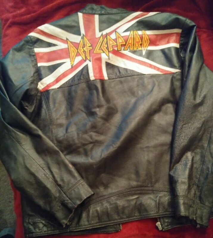 Authentic Collectors Vintage Def Leppard Leather Jacket Size XL
