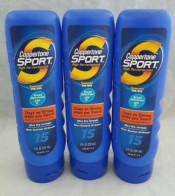 Coppertone Sport Sunscreen Lotion (3 Coppertone Sport High Performance Sunscreen Lotion 15 SPF 8 OZ EACH )