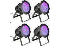 4 x Cameo Black LED PAR64 Short Parcan Hang /Floor mount / Uplighter CLP64RGB10BS