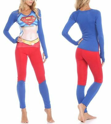 New Juniors S DC Comics Supergirl Body 2PC Pajamas Costume Sleep Set Shirt Pants