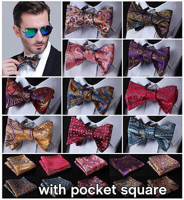 Classic Paisley Floral Men Woven Silk Wedding Self Bow Tie Handkerchief Set B4