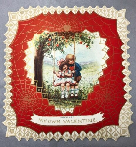 1920s VALENTINE Swing SPIDERWEB Cobweb Die Cut ANTIQUE 5 1/2 inches