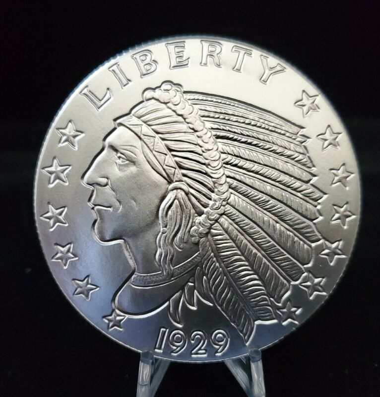 5 oz. .999 Silver Golden State Mint Silver Incuse Indian Design Round. New.