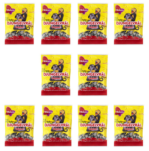 Malaco Djungelvral Extremely Salty Licorice 10x80 gram Made in Sweden