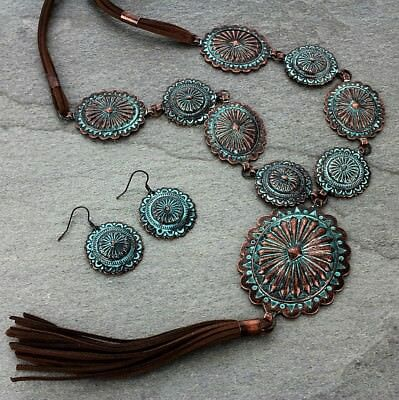 Western Copper Patina Concho Long Suede Tassel Necklace Earrings Jewelry Set