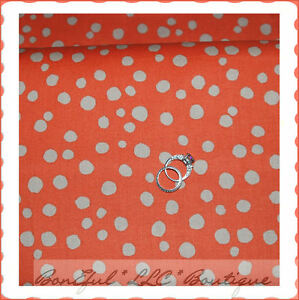 BonEful-Fabric-FQ-Cotton-L-Orange-Brown-Tan-Cream-Polka-Dot-Halloween-Fall-Quilt