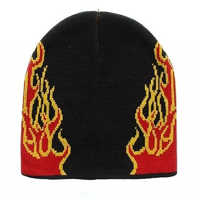 Red Yellow Black Flames on Side Beanie Knit Cap Skully Hat Ski Winter Snowmobile (Black Flame Knit Beanie)