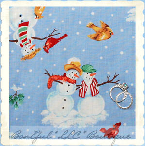 BonEful-Fabric-FQ-Cotton-Quilt-VTG-Snow-man-Flake-Bird-Cardinal-Winter-Tree-Xmas