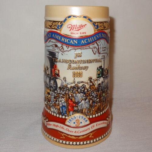 Miller Beer Stein Great American Achievements 1st Transcontinental Railway 1869