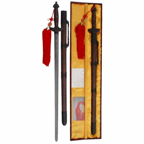 Qing Dynasty Damascus Steel Straight Sword