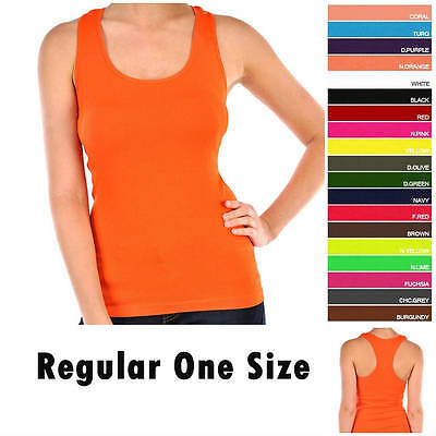 Women's Racerback Sleeveless Tank Top Basic Solid Ribbed Cami Athletic Tee -