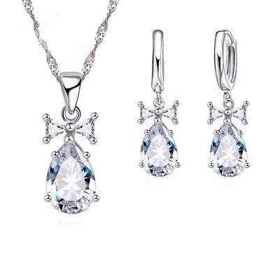 Teardrop Style AAA-Cubic Zirconia Necklace Earring Silver Jewelry Set J-122