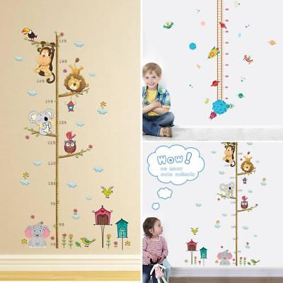 (Children Height Growth Chart Measure Wall Sticker Kids Room Animal Decal Exotic)