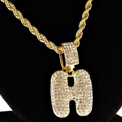 Bubble Letter H Initial Rope Chain Bling Pendant Gold Finish HipHop Necklace 24