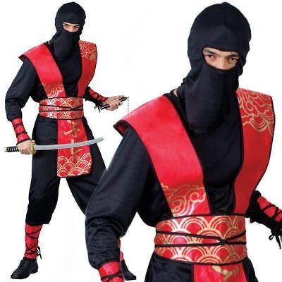 Adult Mens Japanese Ninja Master Martial Arts Samurai Fancy Dress - Ninja Master Adult Kostüm