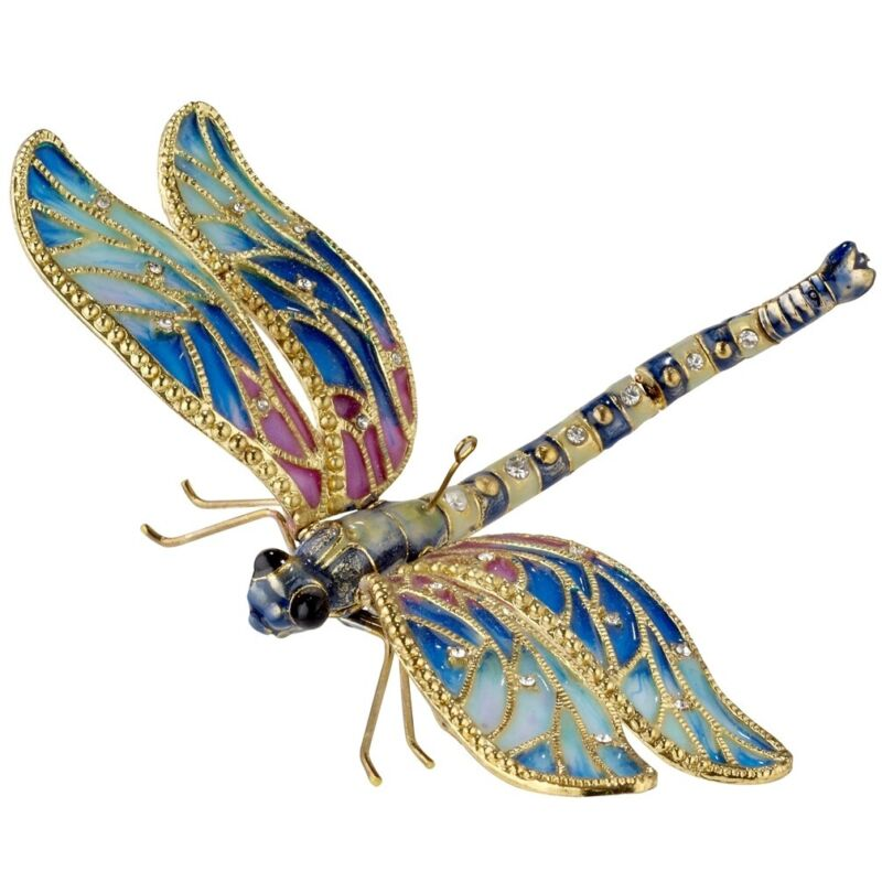 Large Blue Jeweled Dragonfly Articulated Cloisonne Metal Christmas Tree Ornament
